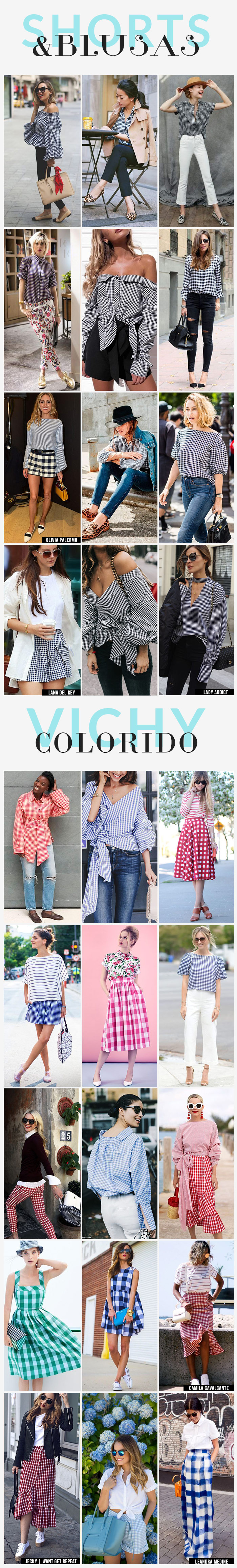 estampa xadrez vichy shorts, blusas e colorida